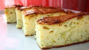 Наливной пирог с отварным мясом на кефире