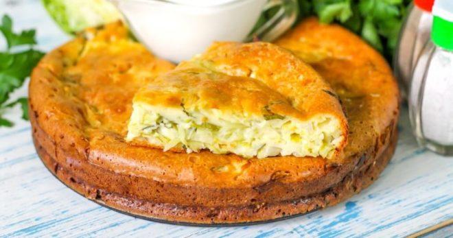 заливной пирог с капустой и мясом