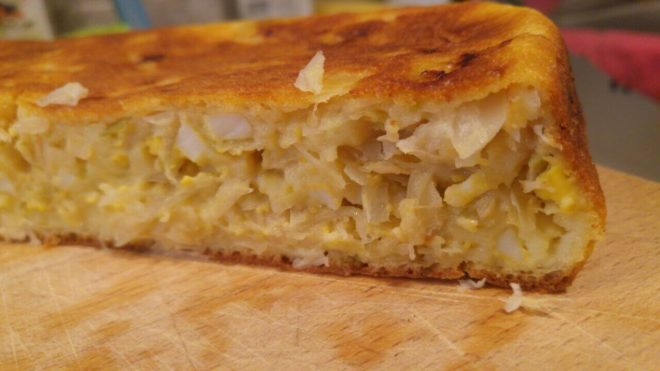 Лучший пирог из жидкого теста с капустой на кефире