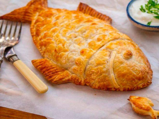 Сливочный пирог с рыбой и картошкой