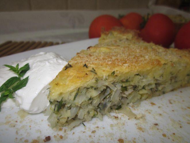 Пирог с капустой на кефире для ленивых